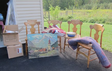 yard sale - set of birdseye maple chairs and oriental rugs at my yard sale - Atticmag