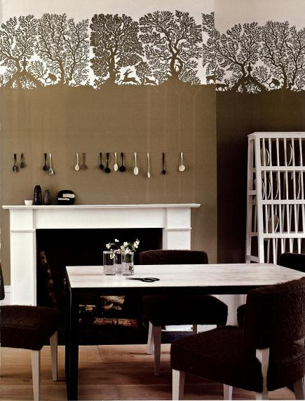 embellished walls with decorative contemporary wallpaper panel frieze - House & Garden via Atticmag