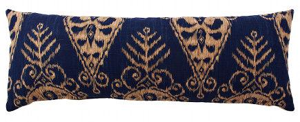 designer pillows - blue and tan ikat designer lumbar pillows from Pillows by Dezign via Atticmag