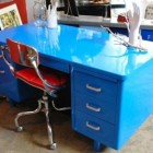 retro office decor - McDowell Craig steel tanker desk in blue powder coat finish from REHAB Vintage Interiors via Atticmag