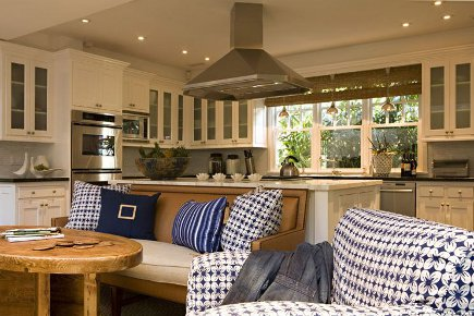 upholstery in kitchens - kitchen sofa and chairs up against the island - Bonesteel Trout Hall via Atticmag