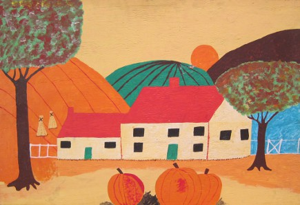 primitive painting of our house in the Fall that fits in our house numbers sign frame - Atticmag