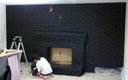 70s brick wall painted black with Benjamin Moore Aura