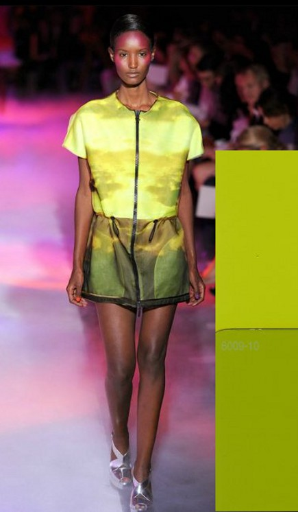 paint color fashion - Moncler, Gamme, Rouge green shorts and top with Valspair Can't Miss Lime and Sassy Green - style.com via Atticmag