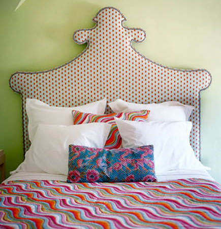 upholstered headboards - Baroque style shaped headboard with Pine Cone Hill quilt by Annie Selke - via Atticmag