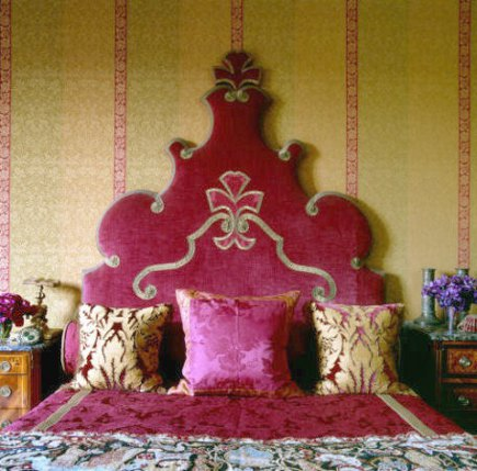 upholstered - velvet and gold gold-embroidered Baroque style headboard by Alidad via Atticmag