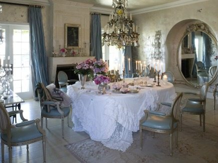 Sharon and Ozzy Osbourne dining room from book Rachel Ashwell Shabby Chic Inspiration and Beautiful Spaces - via Atticmag
