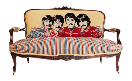 antique Louis XV style sofa from Antique2Chic reupholstered with Beatles fabric on the back - via Atticmag