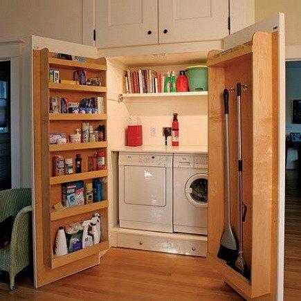 hidden laundry spaces - laundry room closet with interior door storage shelves from Junk Garden Girl via Atticmag