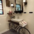 Benjamin Bullins mixed media discarded bicycle vanity for a bathroom - via Atticmag
