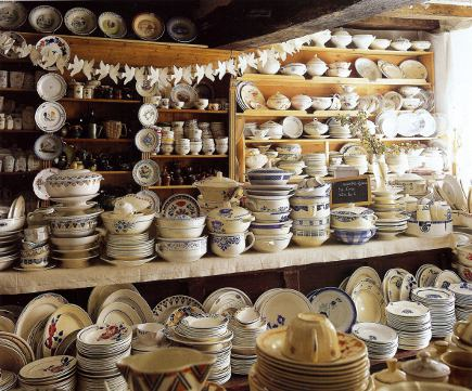 vintage dishware collection clutter at L'Emotion du Passe, in Brittany - WOI via Atticmag