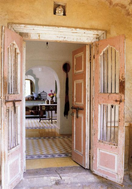 Anglo-Indian style - pink and white entry doors in a house in Rajasthan- WOI via Atticmag