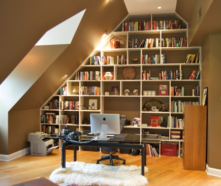 Book Case Built Into An Irregular Attic Wall