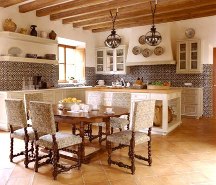 Spanish tile kitchen in Mallorca by Michael S Smith - Rizzoli via Atticmag