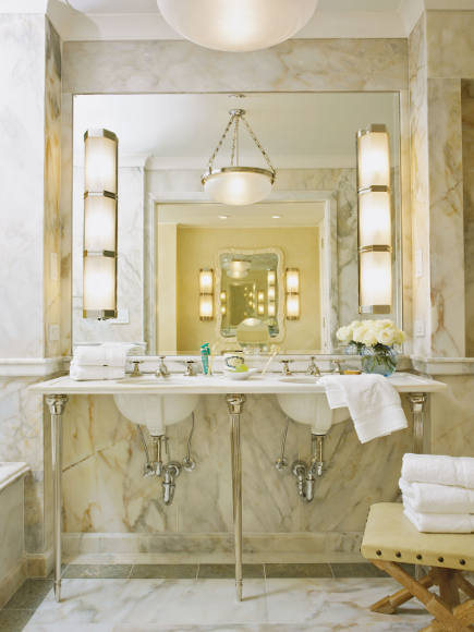 white Selena marble Deco inspired city bathroom by Michael S Smith - Rizzoli via Atticmag