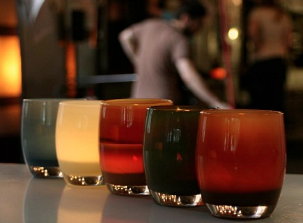 colorful handblown glass holders for votives and flowers by glassybaby via Atticmag