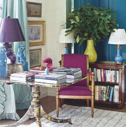 Room with fuchsia, turquoise and purple accents by Miles Redd via Atticmag