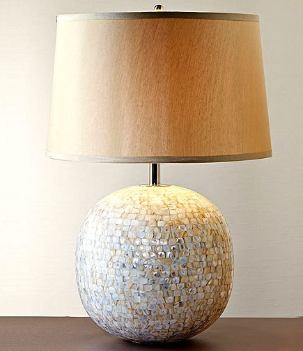 museum store gifts - mother of pearl mosaic table lamp from the Smithsonian Institution museum store via Atticmag