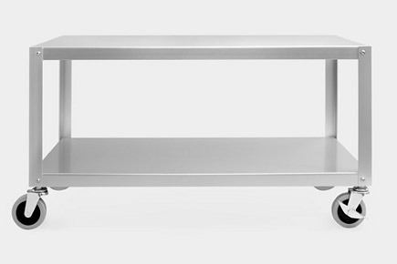 museum store gifts - MUJI aluminum rolling coffee table from the Museum of Modern Art store via Atticmag