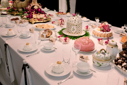 Royal Copenhagen's Christmas 2011 table with dessert and White Fluted Half Lace China - Royal Copenhagen via Atticmag