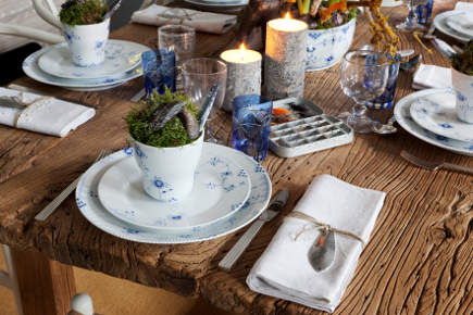 Royal Copenhagen's Christmas 2011 fishing theme christmas table with Blue Elements china - Royal Copenhagen via Atticmag