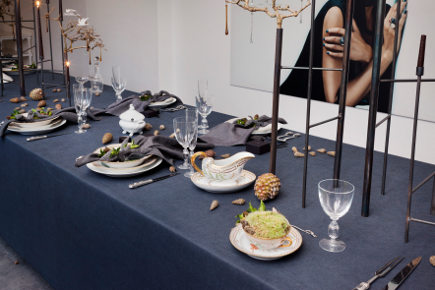 Royal Copenhagen's Christmas 2011 - overview of minimalist midnight sky christmas table set with Flora Danica china - Royal Copenhagen via Atticmag