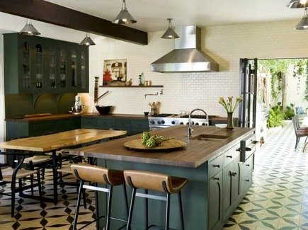 cement tile dark green kitchen cabinets and French pattern cement tile flooring by Commune Design - via Atticmag