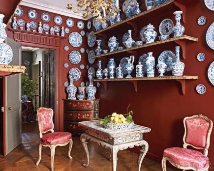 fussy rooms - Porcelain Room in Andrew Gn's Paris apartment - Elle Decor via Atticmag