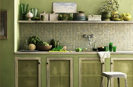 green kitchens - pale gra6-green mosaic tile backsplash kitchen with pale green and gray cabinets - Desire to Inspire via Atticmag