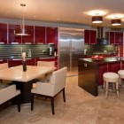 Christmas kitchens - contemporary red open kitchen with modern red high gloss lacquer cabinets - houzz via Atticmag