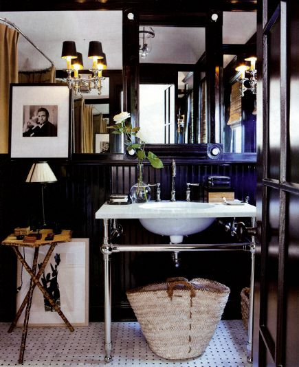 black beadboard - Mark D. Sikes bathroom with black high gloss beadboard wainscoting and mirrored walls - House Beautiful via Atticmag