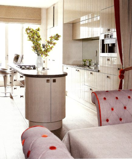 orange decor - upholstered chairs and curtains with orange details - House and Garden via Atticmag