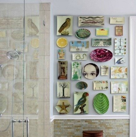 plate display - decoupage plates and trays by John Derian wall display - Nirmanda Interior Design via Atticmag