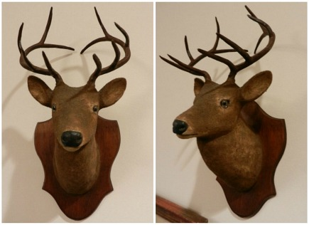 faux deer decor - vintage wood and metal faux deer stag head by The Little Deer Company - Atticmag