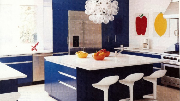 blue kitchen cabinets - contemporary blue and white kitchen with electric blue cabinets and mid-century modern style accessories - Domino via Atticmag