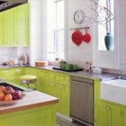 lime kitchen cabinets - Actor Anthony Edwards' transitional kitchen painted Bright Lime by Benjamin Moore with white and gray accents - Elle Decor via Atticmag