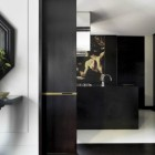 kitchen mural - kitchen with Java cabinets and baroque style mural - Janine Stone via Atticmag