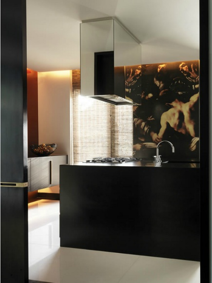 kitchen mural - minimalist kitchen with Java cabinets and baroque style mural- Janine Stone via Atticmag