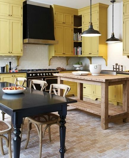 mustard yellow kitchen - Farrow & Ball Octagon yellow cabinets in the 2011 Princess Margaret Showhouse kitchen - House & Home via Atticmag