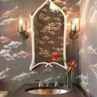 powder room wallpaper - silk paper with koi motif -De Gournay via Atticmag