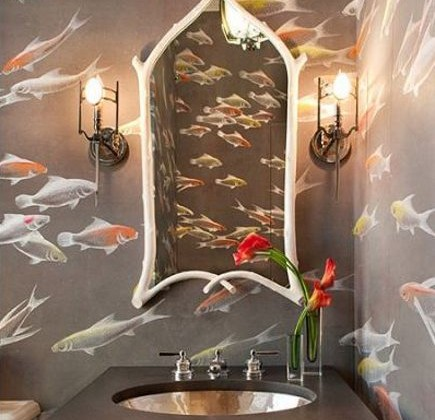 powder room wallpaper - silk paper with koi motif -De Gournay via Atticmag