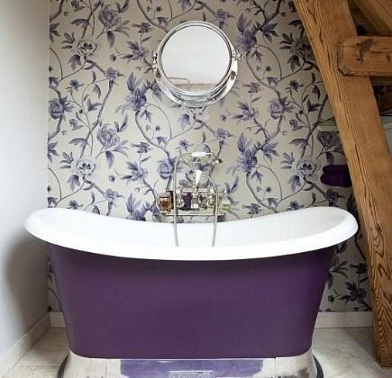 violet slipper Chariot bathtub by Chadder & Co UK via Atticmag
