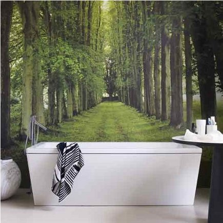bathroom murals - country lane photo mural in a modern bathroom - House to Home via Atticmag