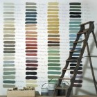 paint palettes - paint palette with color notes on a wall - tumblr via Atticmag