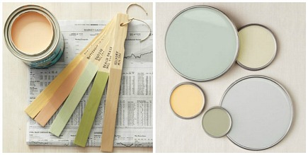 paint palettes - portable paint palette made with paint stirring sticks and paint can lids - BH&G via Atticmag
