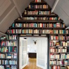 bookcase ideas - bookcase built under a pitched roof in an attic room - marie claire maison via Atticmag