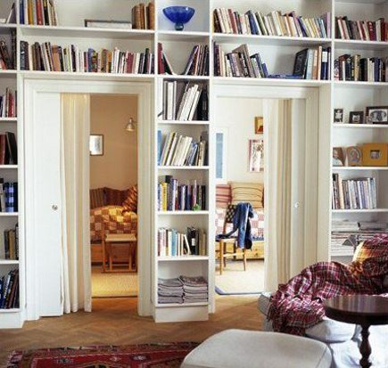 bookcase ideas - bookcase built around a pair of doors - tumblr via Atticmag