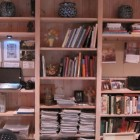 bookcase pinboard- home office bookcase with pin boards and computer niches - Atticmag