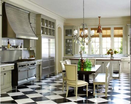 Checkerboard Floor Kitchens