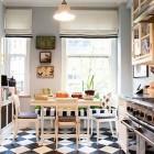 checkerboard floor kitchens - kitchen with black and white checkerboard floor - pinterest via atticmag